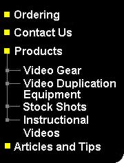 Menu: Ordering, Products, Video production, Video Editing, Do your own video duplication, stock shots, instructional videos,Contact us